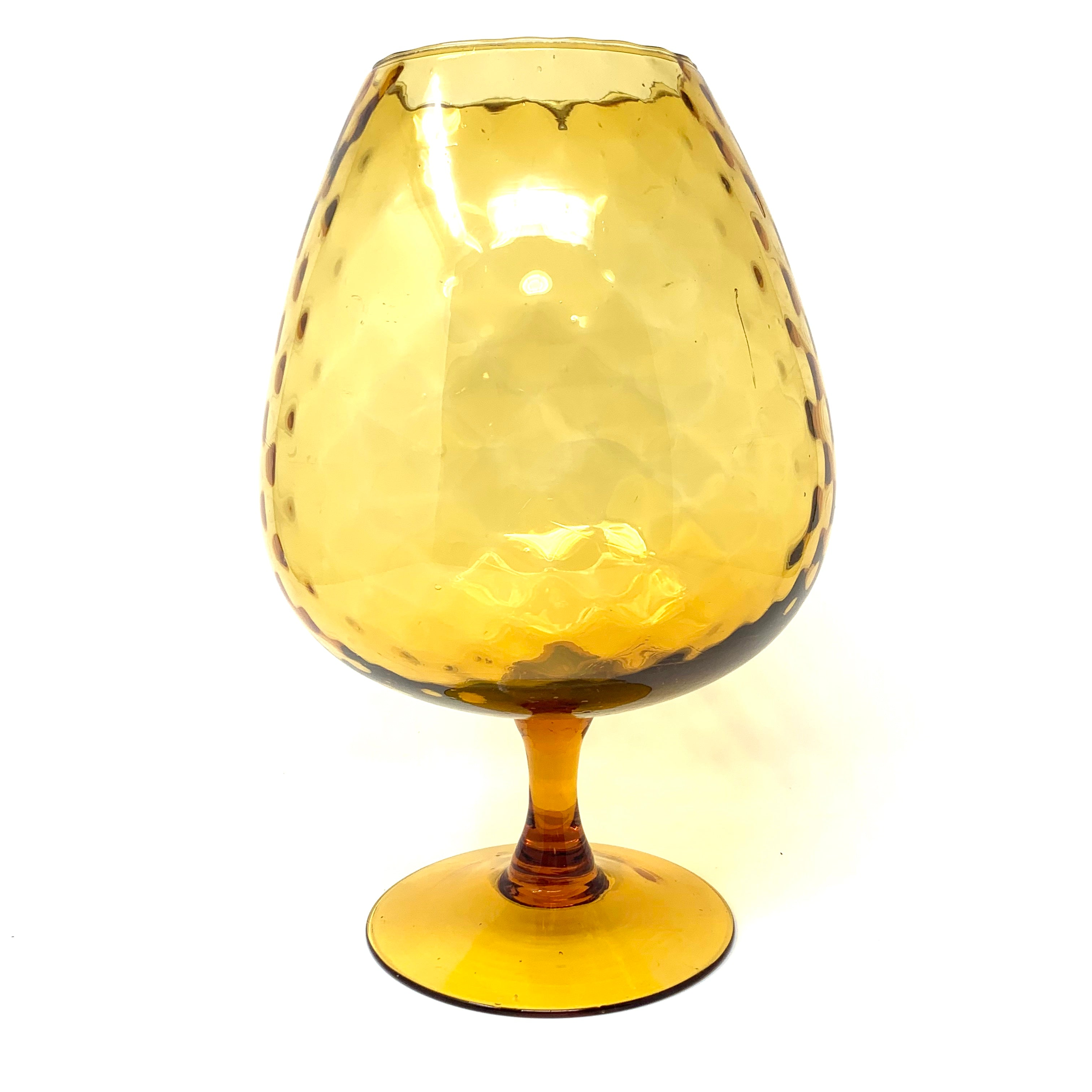 Vintage Oversized Viennese Amber Glass Chalice