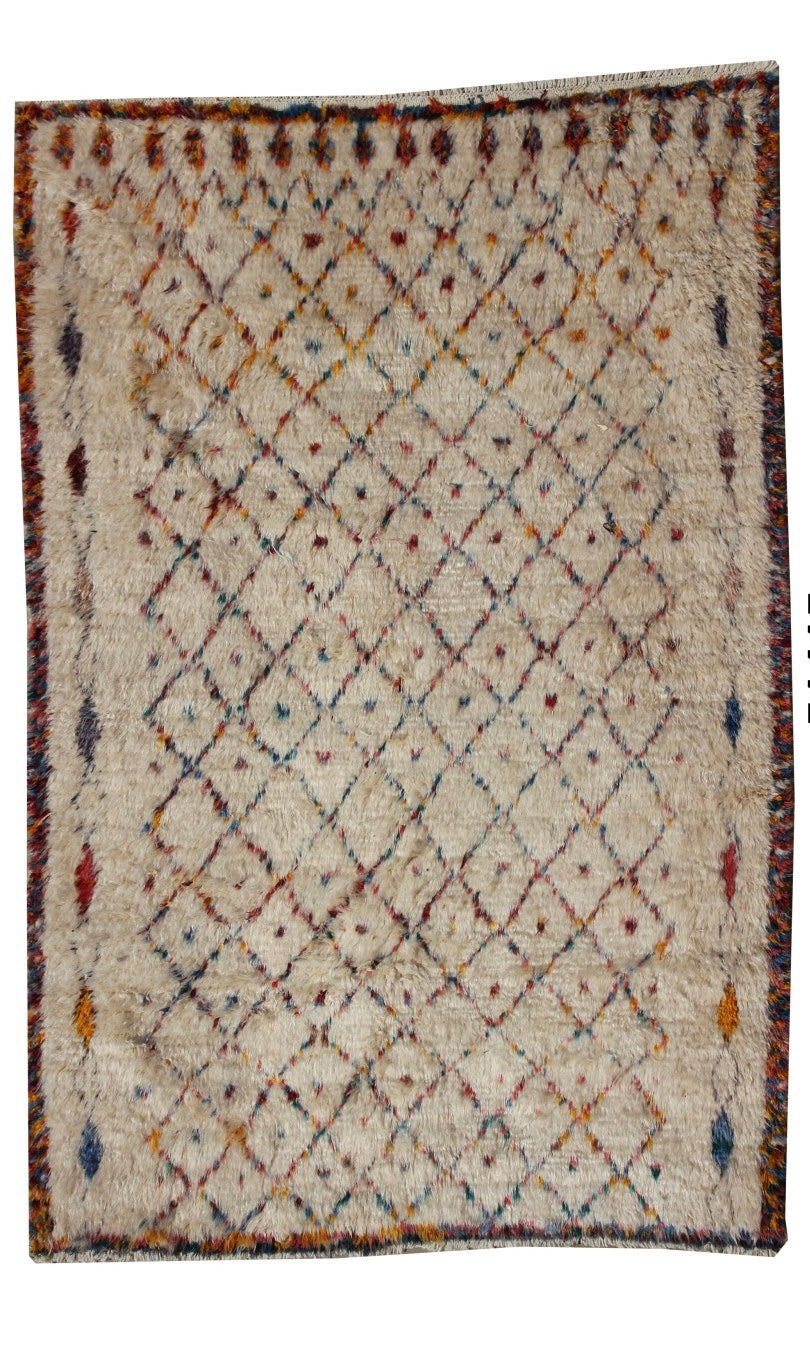 "Afghani Long Haired Gabbeh Rug - White with Mustard, Pink and Blue 9'4"" x 6'5"""