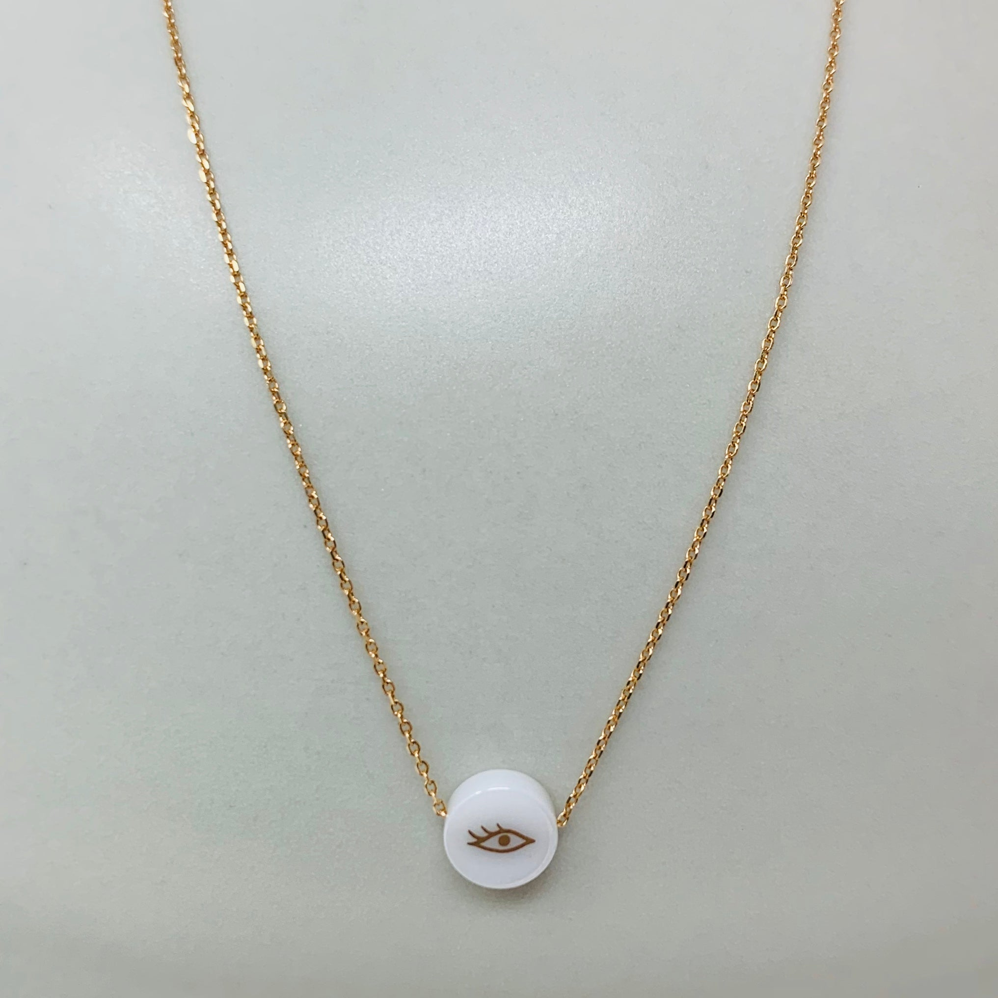 18k Gold Ceramic Single Bead Symbol Necklaces 16""