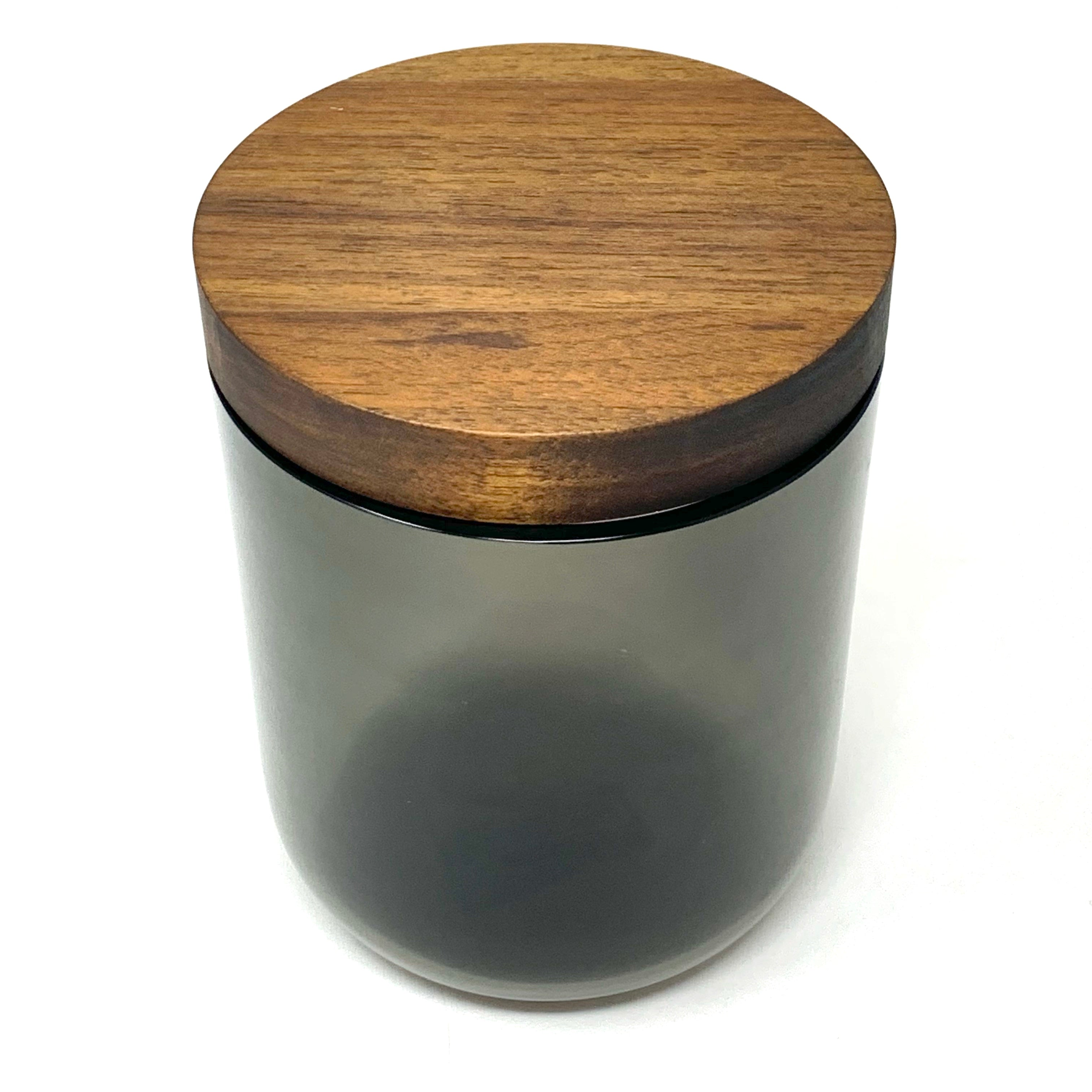 "Tall Black Glass Canister with Walnut Lid 6"" dia."