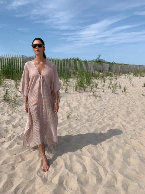 Short Linen Kaftan Soft Rose OS