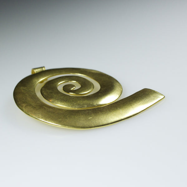 24K Gold Pendant - Thick Spiral