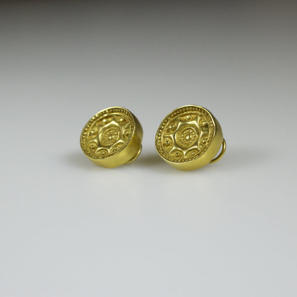 "24K Gold Earrings ""Tayrona Sun"" - Thick"