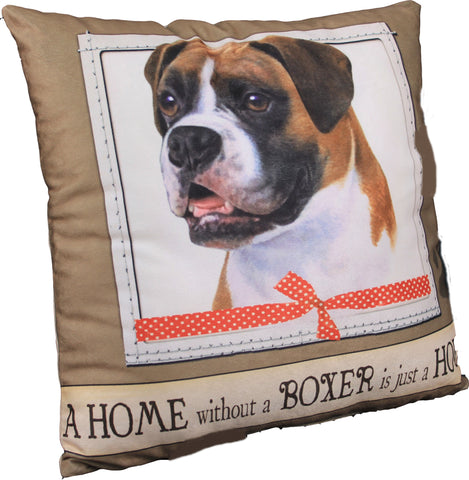 Boxer Uncropped Dog Breed Throw Pillow