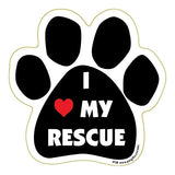 I Love My Rescue Dog Paw Magnet