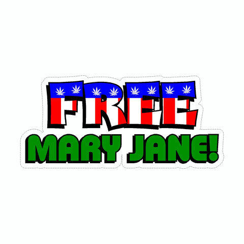 Marijuana Free Mary Jane Vinyl Car Sticker