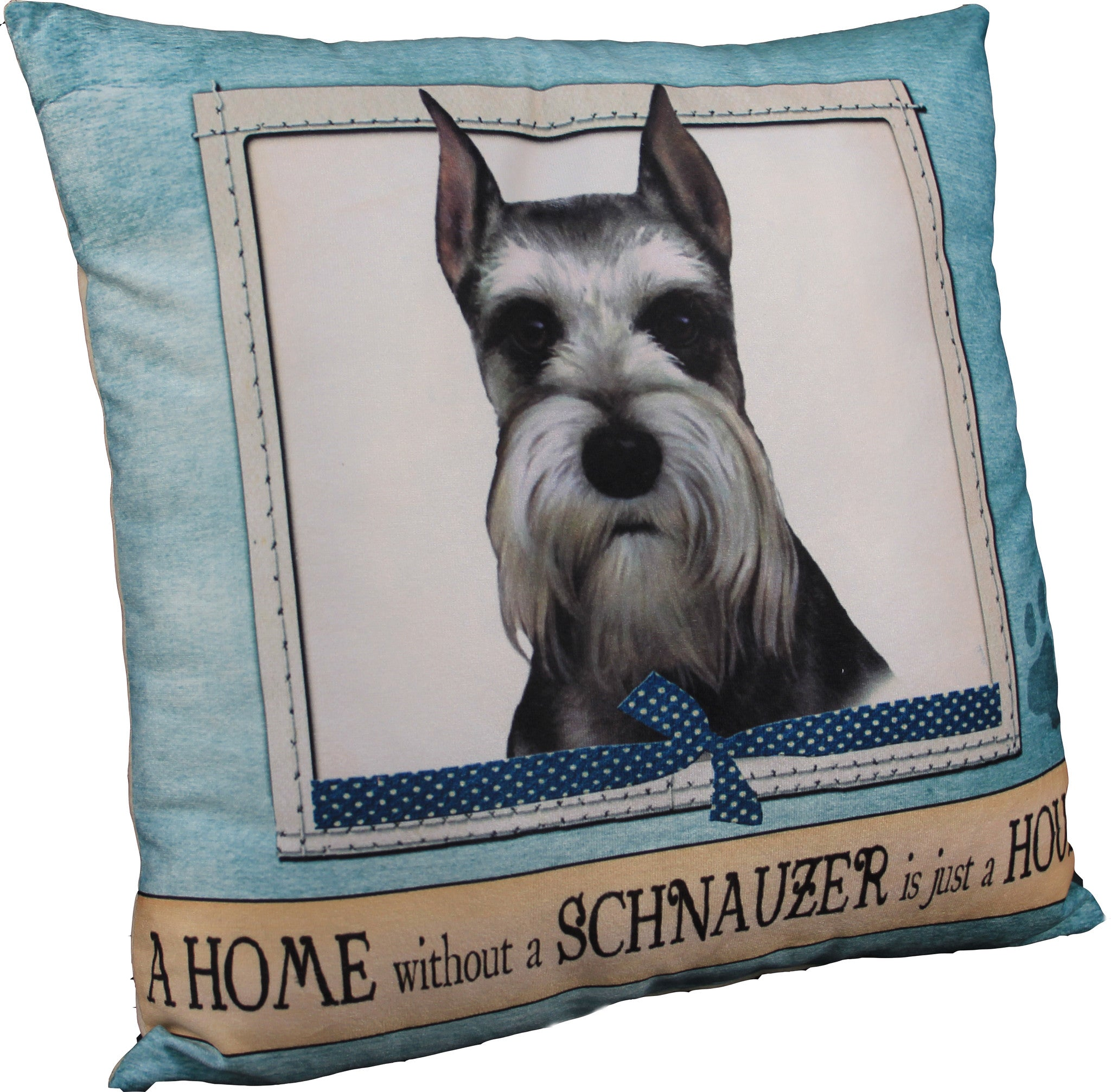 "Measures approx 16"" x 16"" Outside is 100% Polyester Inside stuffed with 100% Polyester Make your sofa a friendlier place with this lovable dog throw pillow which is available for a wide range of breeds. Each of these decorative pillows features a large picture of a particular breed of dog, along with the message ""A HOME without a 'dog breed' is just a HOUSE""."