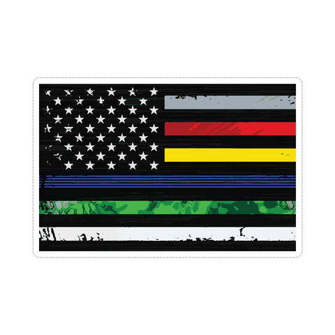 Thin Line US American Flag Support Military Police Fire Nurse Corrections Vinyl Car Sticker