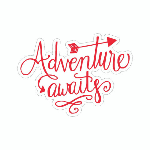 Adventure Awaits Red Vinyl Sticker