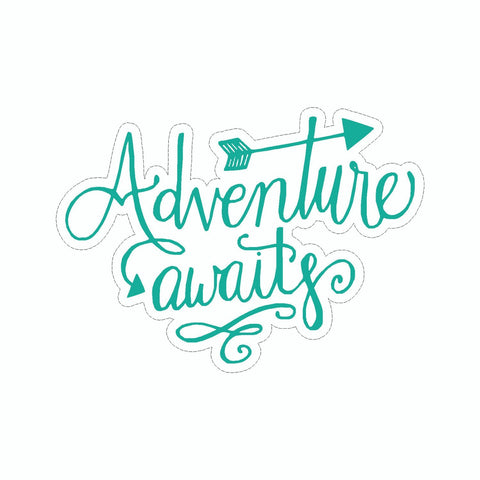 Adventure Awaits Blue Vinyl Sticker