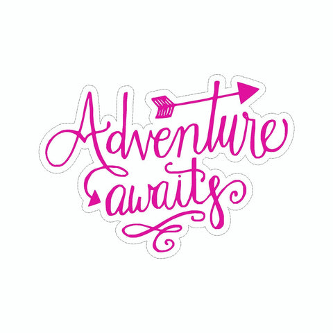 Adventure Awaits Pink Vinyl Sticker