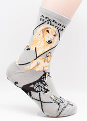 Afghan Hound Dog Breed Novelty Socks Gray