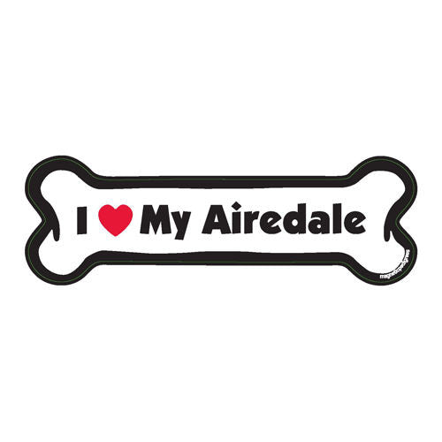 I Love My Airedale Dog Bone Magnet