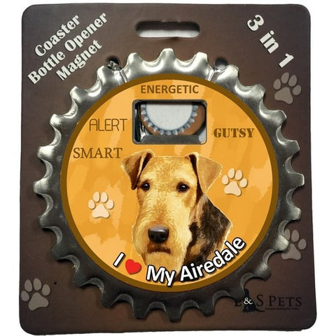 Airedale Terrier Dog Bottle Ninja Stainless Steel Opener Magnet