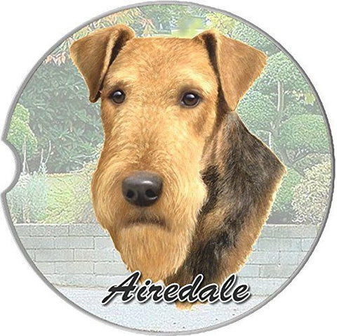 Airedale Sandstone Absorbent Dog Breed Car Coaster
