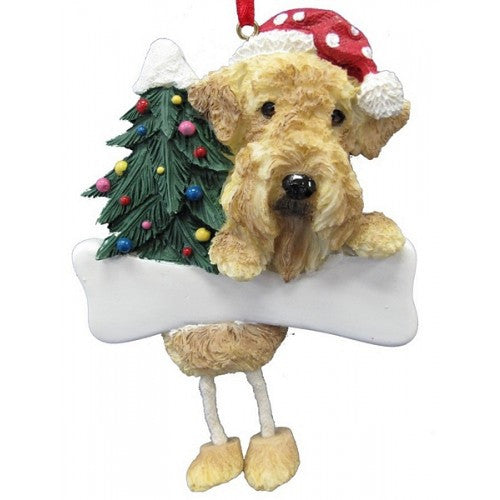 Dangling Leg Airedale Christmas Ornament