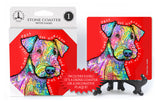 Airedale Terrier A Dog Sees Past The Horizon And Into Your Heart Dean Russo Drink Coaster