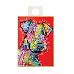 Airedale A Dog Sees Past The Horizon Into Your Heart Dean Russo Wood Dog Magnet