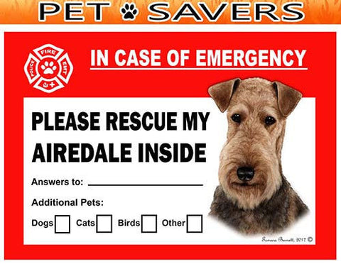 Airedale Terrier Emergency Window Cling