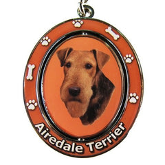 Airedale Terrier Dog Spinning Keychain