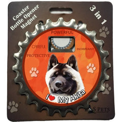 Akita Dog Bottle Ninja Stainless Steel Opener Magnet