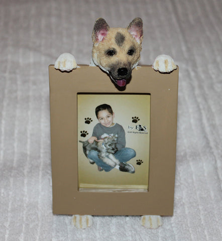 Akita Dog Holding Picture Frame