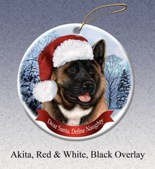 Akita Red and Black Howliday Dog Christmas Ornament