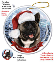 Akita Silver and Black Howliday Dog Christmas Ornament