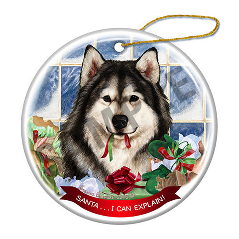 Alaskan Malamute Howliday Dog Christmas Ornament