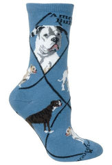 American Bulldog Dog Breed Novelty Socks Blue