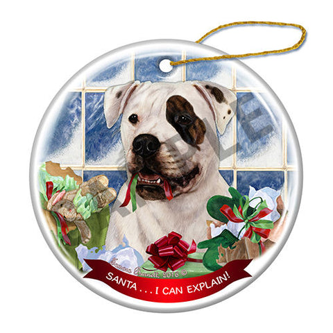 American Bulldog Brindle Eye Howliday Dog Christmas Ornament