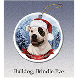 American Bulldog White Brindle Eye Howliday Dog Christmas Ornament
