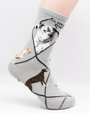 American Bulldog Dog Breed Novelty Socks Gray