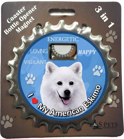 American Eskimo Dog Bottle Ninja Stainless Steel Opener Magnet