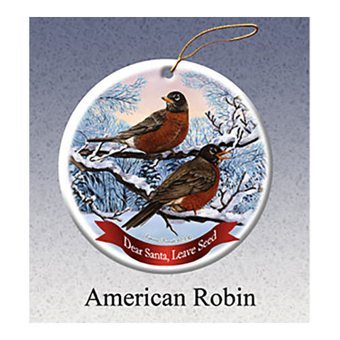 American Robin Howliday Dog Christmas Ornament