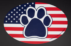 American Flag Patriotic Paw Euro Dog Magnet