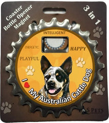Australian Cattle Dog Bottle Ninja Stainless Steel Opener Magnet