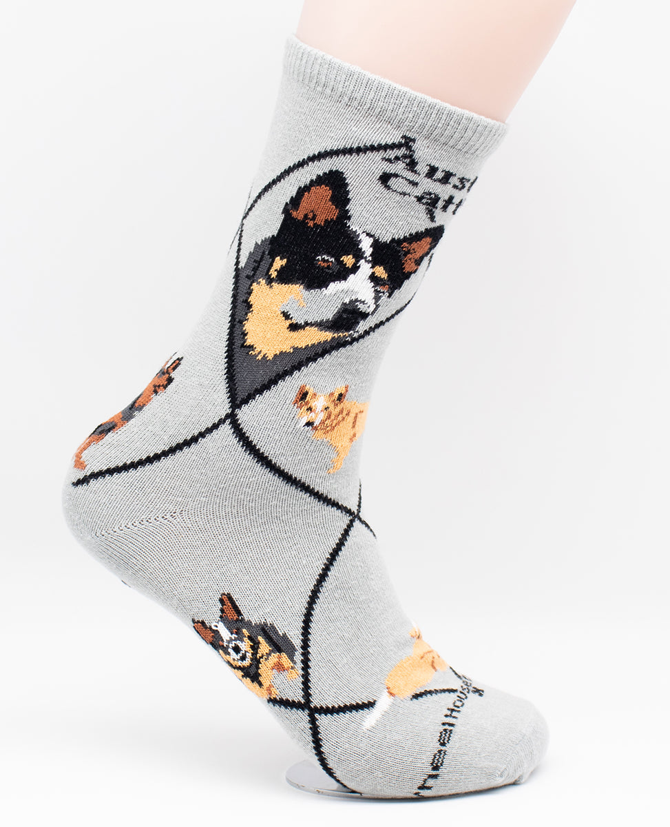 Australian Cattle Dog Breed Novelty Socks Gray
