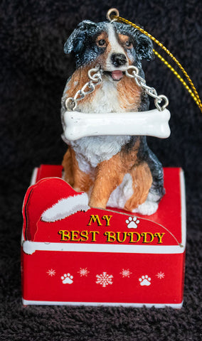 Australian Shepherd Statue Best Buddy Christmas Ornament