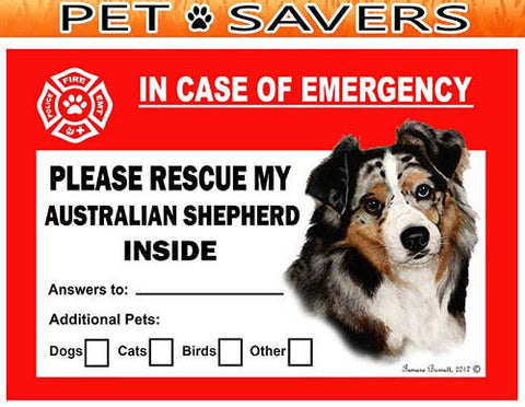 Australian Shepherd Emergency Window Cling