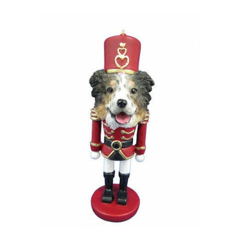 Australian Shepherd Dog Toy Soldier Nutcracker Christmas Ornament