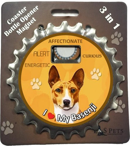 Basenji Dog Bottle Ninja Stainless Steel Opener Magnet