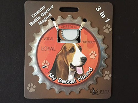 Basset Hound Dog Bottle Ninja Stainless Steel Opener Magnet