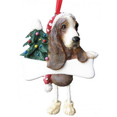 Dangling Leg Basset Hound Christmas Ornament