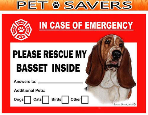 Basset Hound Emergency Window Cling