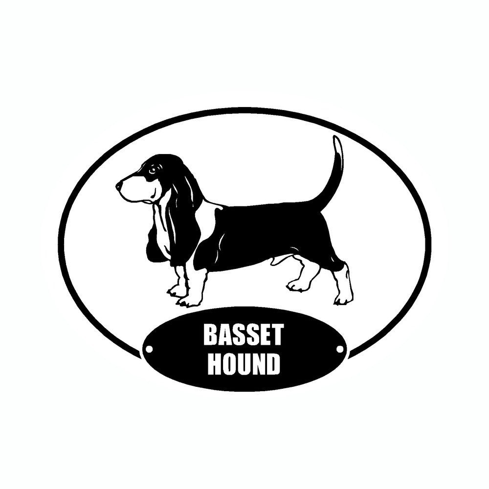Basset Hound Euro Vinyl Dog Car Sticker