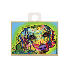 Beagle All You Need Is A Love And A Dog Dean Russo Wood Dog Magnet