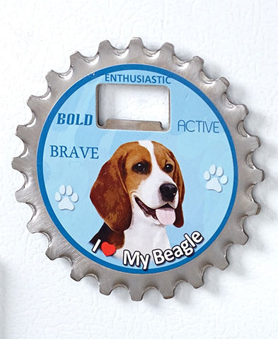 Beagle Dog Bottle Ninja Stainless Steel Opener Magnet