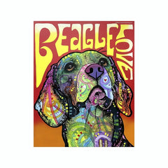 Beagle Love Dean Russo Vinyl Dog Car Sticker