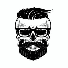 Bearded Skull Vinyl Sticker
